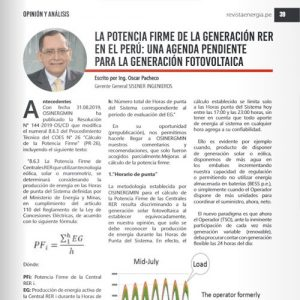 The firm power of RER generation in Peru: a pending agenda for photovoltaic generation