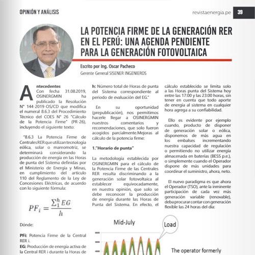 La potencia firme de la generación RER en el Perú: una agenda pendiente para la generación fotovoltaica